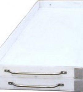 Tabuleiro em Polietileno Alimentar (PE500) Espessura 12MM c/ Pegadeiras em Inox